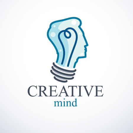 Creative brain concept, intelligent person vector logo. Light bulb in a shape of man head profile. Bright mind, thinking and brainstorming idea icon.