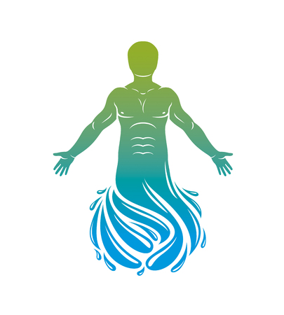 Vector illustration of human, athlete. Poseidon the god of sea and defender of all waters. 일러스트