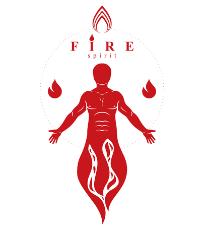 Vector graphic illustration of muscular human, self. The sun God fiery Ra, mystic ancient god metaphor.