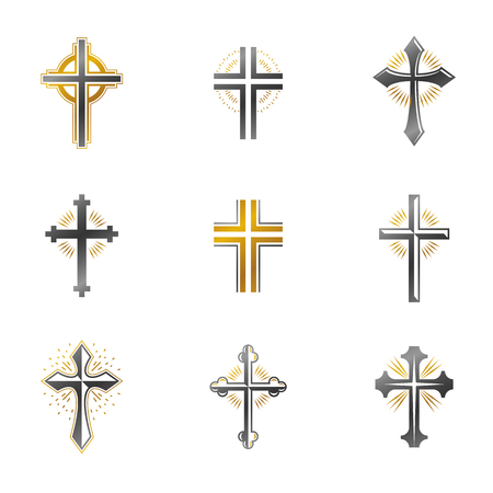 Crosses of Christianity emblems set. Heraldic vector design elements collection. Retro style label, heraldry logo. Illustration