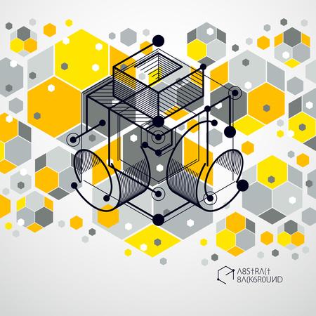 Schéma mécanique, dessin d'ingénierie vectoriel jaune avec des cubes 3D et des éléments géométriques. Papier peint technologique d'ingénierie fait avec des nids d'abeilles.