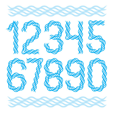 Vector modern rounded numbers collection made with abstract flowing rhythm wave lines, for use as poster design elements