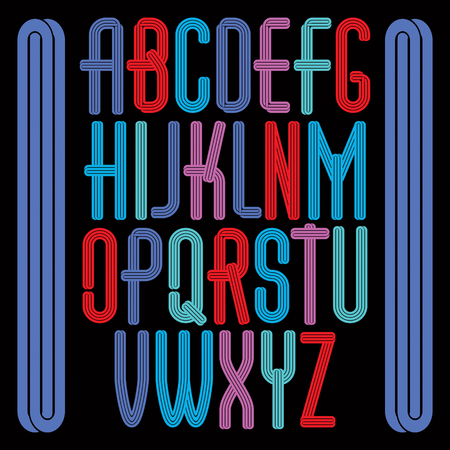 Set of bright vector tall upper case funky English alphabet letters isolated with parallel lines, for use as retro poster design elements for fun club or concert advertising.
