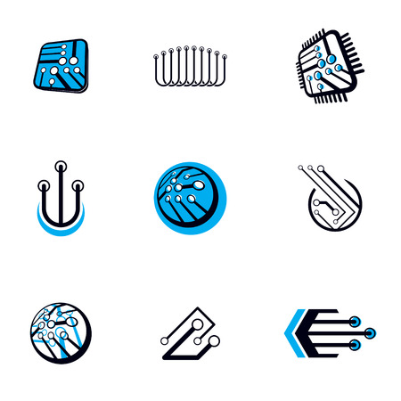 Technology communication cybernetic elements collection. Vector abstract circuit board. Set of electronic microprocessor logos. Illustration
