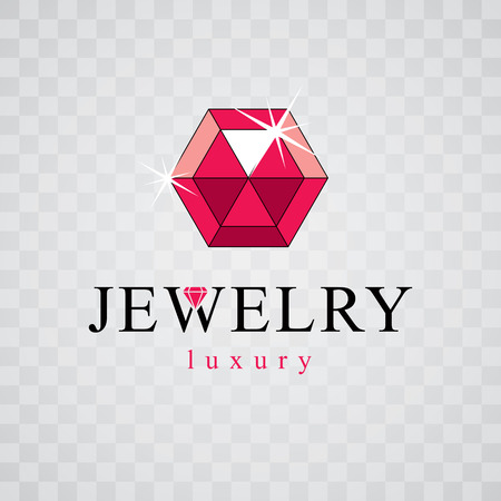 Vector luxury faceted decorative element. Glossy diamond sign emblem, logo. Brilliant jewelry illustration.