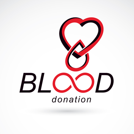 Blood donation inscription isolated on white and created with vector red blood drops, heart shape and infinity symbol. Medical theme graphic logo for use in charitable organizations.