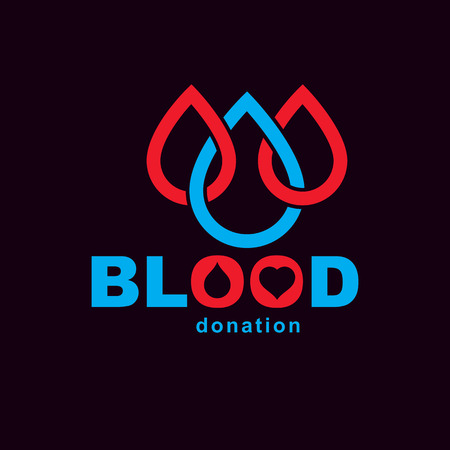 Blood donation metaphor, heart shape and blood drops. Medical theme vector graphic symbol.