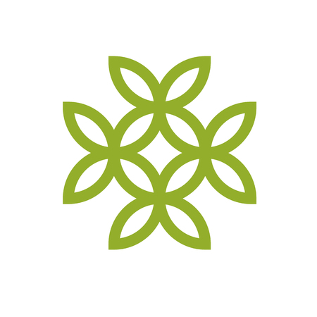 Green leaves isolated on white background. Healthy lifestyle conceptual icon for use in medical treatment organizations. The flower of life.