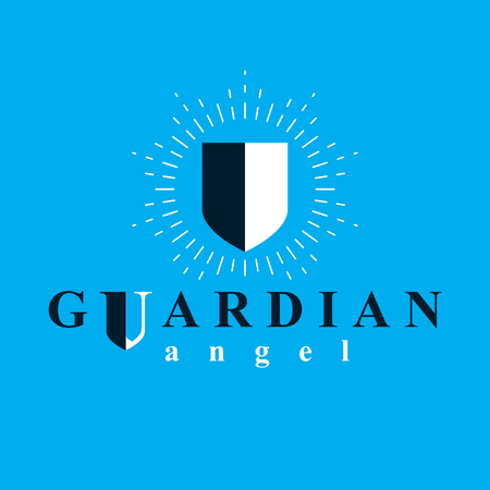 Shield vector graphic illustration, safety and security metaphor symbol. Guardian angel vector abstract emblem.
