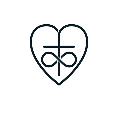 Immortal Love of God conceptual symbol combined with infinity loop sign and Christian Cross with heart, vector creative logo. Illustration