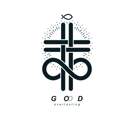 Immortal God conceptual symbol combined with infinity loop sign and Christian Cross, vector creative logo. Stock Illustratie