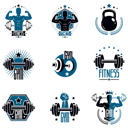 Logotypes for heavyweight gym or fitness sport gymnasium, vintage style vector emblems set. Illustration
