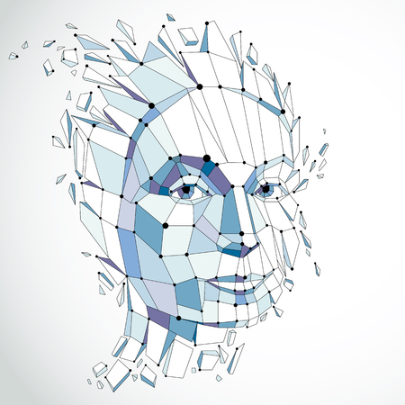 Face of a thinking woman created in low poly style and with connected lines, 3d vector blue wireframe human head, brain exploding which symbolizes intelligence and imagination. Standard-Bild - 101236389