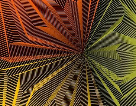 Vector illusive surreal art background for design like a hallucination drug trip surrealism, linear 3d trend. Fantastic psychedelic trendy modern op art, optical dimensional illusion.