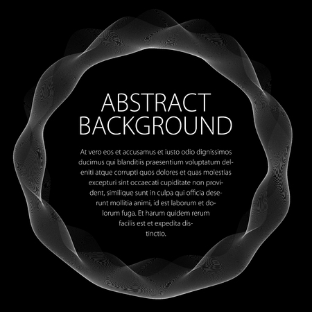 Round smooth linear frame of wavy lines. Vector abstract artistic beautiful background with copy space for text.  Isolated over black background. Illustration