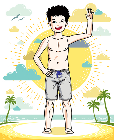 Cute little teen boy standing in colorful stylish beach shorts. Vector attractive kid illustration. Fashion and lifestyle theme cartoon.