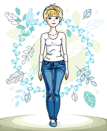 Attractive young blonde woman posing on background of spring landscape with leaves and wearing different casual clothes. Vector nice lady illustration. Springtime theme clipart. Illustration