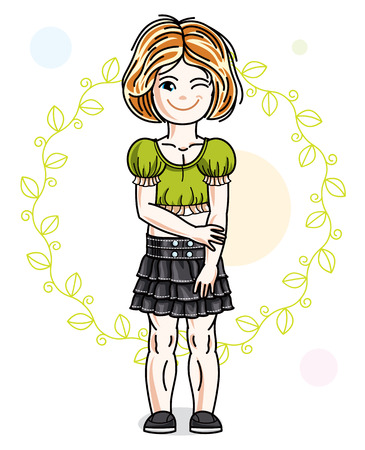 Little red-haired cute girl standing on spring eco background with leaves. Illustration of vector attractive kid wearing casual clothes. Illustration