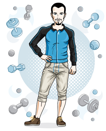 Happy brunet young adult man with beard and mustaches is standing on simple background with dumbbells and barbells. Vector character, sport and fitness theme. Illustration
