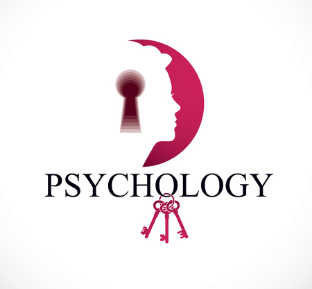 Psychology and mental health concept, created with woman head profile and keyhole, psychoanalysis as a key to human nature, individuality and psychic problems.