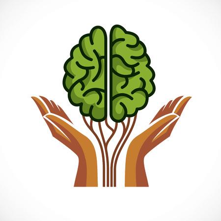 Concepto de salud mental y psicología, icono de vector o diseño de logotipo. Cerebro anatómico humano en forma de árbol verde con tiernas manos protectoras, crecimiento y apogeo de la personalidad y la individualidad.
