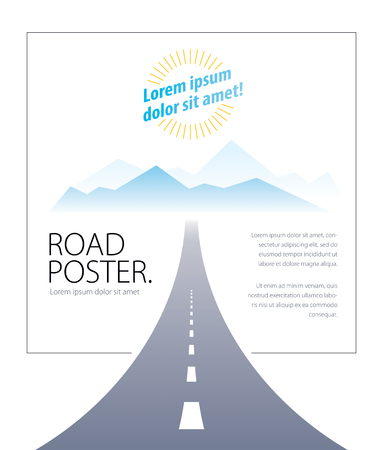 Country road highway vector perfect design illustration. The way to nature, mountains and rocks tourism and travel theme. Can be used as a road banner or billboard with copy space for text.