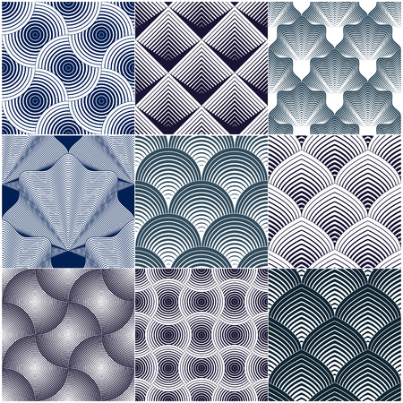 Geometric seamless patterns set, abstract tiling backgrounds collection, vector repeat endless wallpaper illustrations. Overlapping circles, Roof tiling or fish squama shapes, Shellfish shapes, leaves.