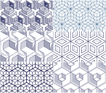 Geometric cubes abstract seamless patterns set, 3d vector backgrounds collection. Technology style engineering line drawing endless illustrations. Usable for fabric, wallpaper, wrapping.