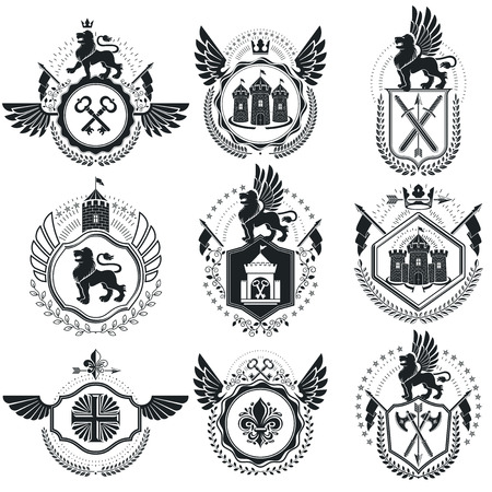 Vintage emblems, vector heraldic designs. Coat of Arms collection, vector set. Illustration