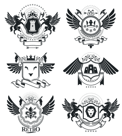 Heraldic signs, elements, heraldry emblems, insignias, signs, vectors. Classy high quality symbolic illustrations collection, vector set. Illustration
