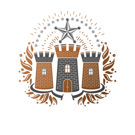 Ancient Castle emblem. Heraldic Coat of Arms decorative logo isolated vector illustration. Ornate logotype in old style on white background. Stock Illustratie
