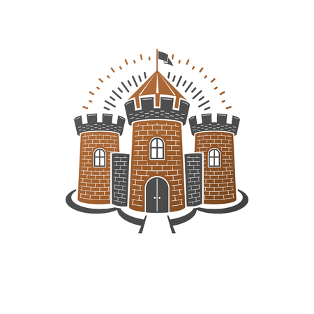 Medieval fortress decorative isolated vector illustration. Retro Fort logo in old style isolated on white background.