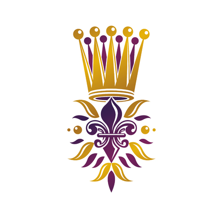 Retro golden vintage Insignia created with lily flower and imperial crown. Vector product quality idea design element, Fleur-De-Lis.