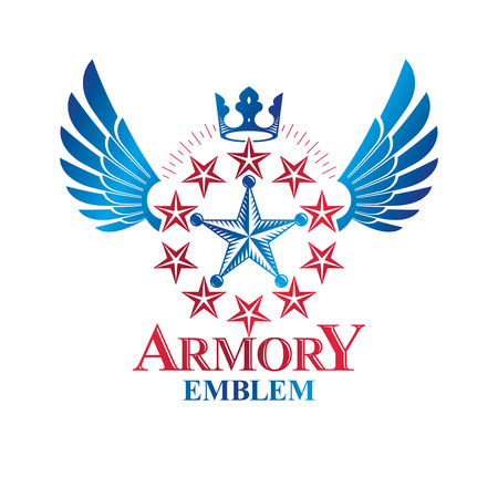 Military Star emblem, winged victory award symbol created using imperial crown.  Heraldic Coat of Arms decorative logo isolated vector illustration.