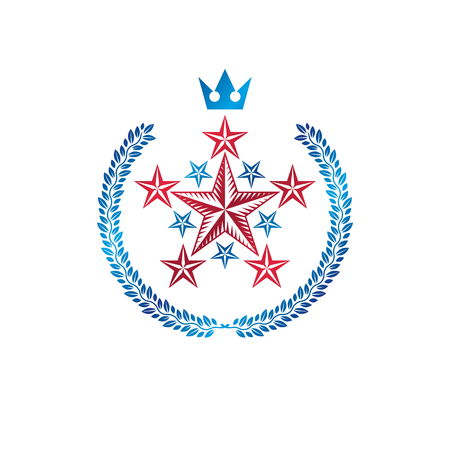 Military Star emblem created with royal crown and laurel wreath. Heraldic vector design element, 5 stars guaranty insignia.  Retro style label, heraldry logo.