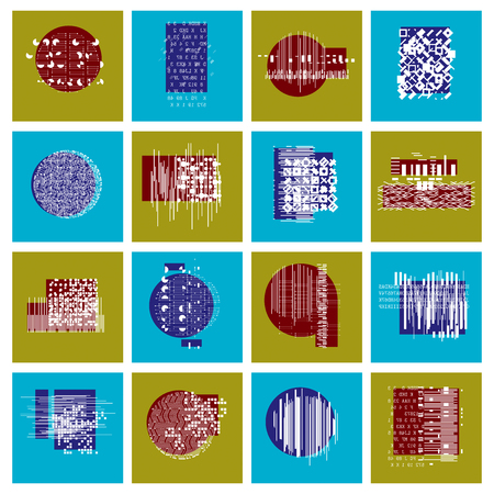 Vector geometric compositions set, abstract graphic arts collection.