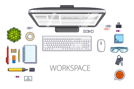 Work desk workspace top view with PC computer and a lot of different stationery objects on table isolated, look above. All elements are easy to use separately or recompose the illustration. Vector.