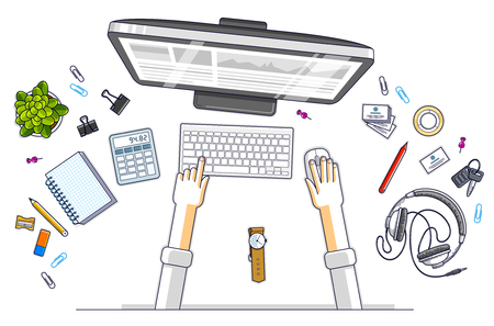 Office worker or entrepreneur working on a PC computer, top view of workspace desk with human hands and diverse stationery objects. All elements are easy to use separately. Vector illustration.