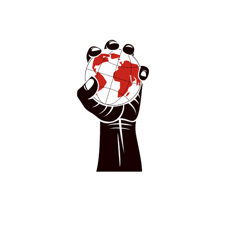 Raised arm holds Earth globe, vector illustration. Authority as the means of global control and manipulation