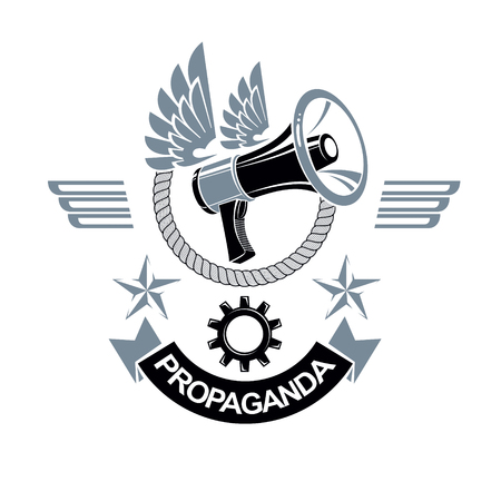 Vector winged logo composed with loudspeaker equipment surrounded by rope. Power of social message, propaganda as political agitation Illustration