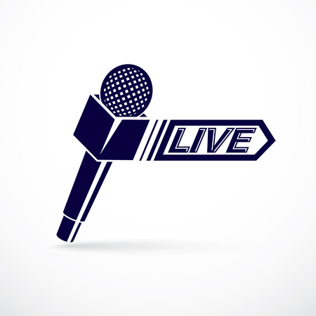 Journalism theme vector logo created with microphone illustration and composed with live inscription. Social mass media theme.