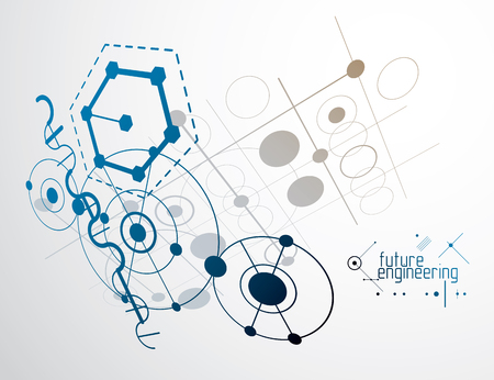 Vector industrial and engineering background, future technical plan. Abstract blueprint of mechanism, mechanical scheme.  Illustration