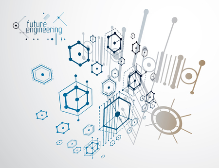 Engineering technology vector wallpaper made with hexagons, circles and lines. Technical drawing abstract background. Illustration