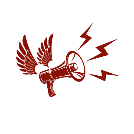 Loudspeaker vector illustration isolated on white and composed with lightning symbol. Power of social message, public relations concept