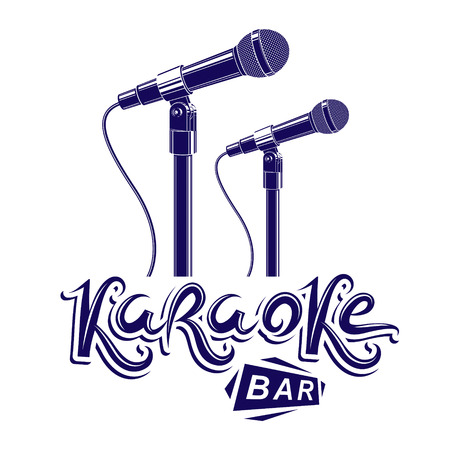 Karaoke bar writing, stage microphone equipment. Nightclub invitation emblem.
