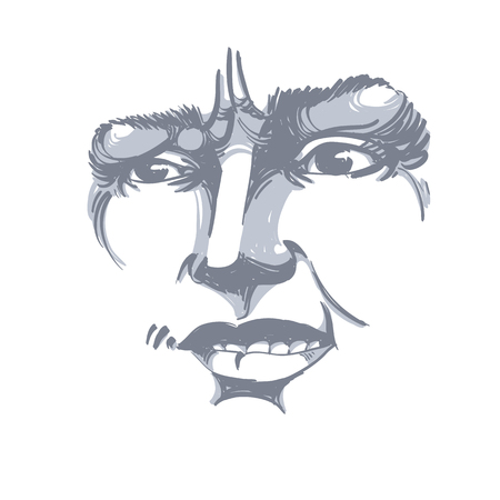 Vector drawing of distrustful woman, face features. Black and white portrait of doubter lady, do not lie to me.  イラスト・ベクター素材