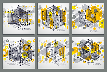 Vector minimalistic geometric abstract 3D yellow compositions set in futuristic style. Modern geometric composition can be used as template and layout.