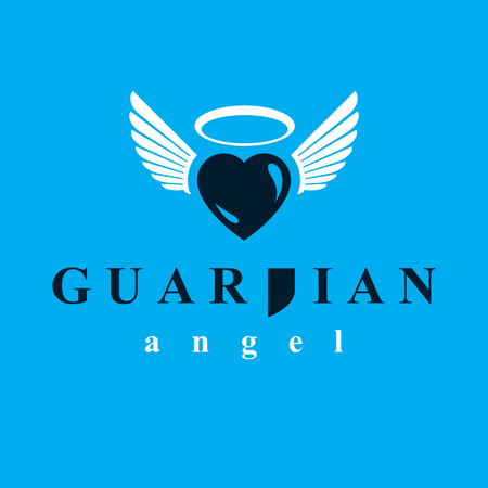 Heart vector graphic illustration, love and freedom metaphor symbol. Guardian angel vector abstract emblem.