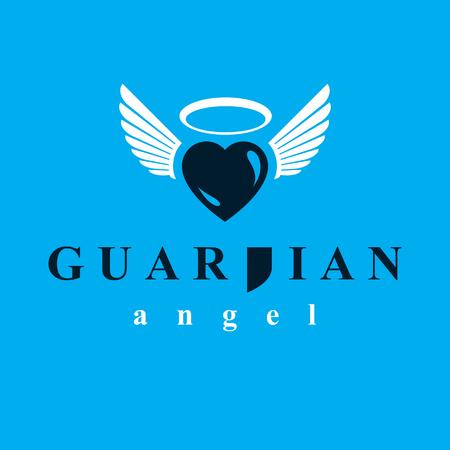 Illustration graphique de vecteur de coeur, symbole de métaphore d'amour et de liberté. Emblème abstrait de vecteur ange gardien.