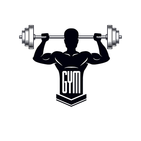 Bodybuilding weightlifting gym logotype sport template, retro stylized vector emblem or badge. With bodybuilder silhouette. Vettoriali
